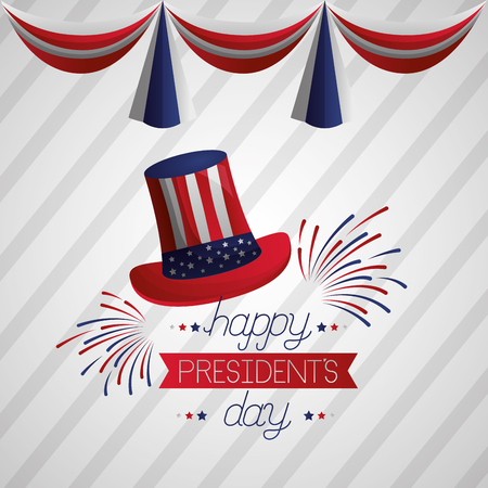 hat fireworks american flag happy presidents day vector illustration