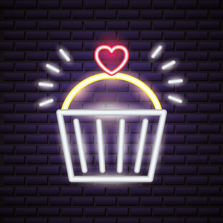 sweet cupcakes happy valentines day neon vector illustration Illustration