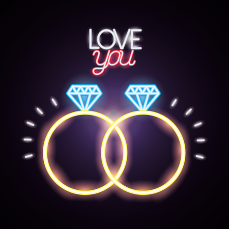 rings love you happy valentines day neon vector illustration Standard-Bild - 126308863