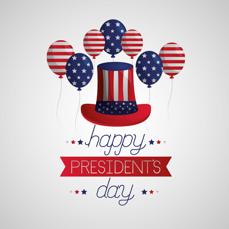 happy presidents day flag hat balloons vector illustration