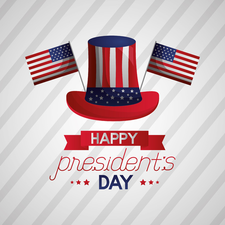 hat american flags happy presidents day vector illustration