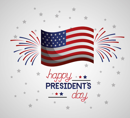 happy presidents day american flag fireworks vector illustration Ilustrace