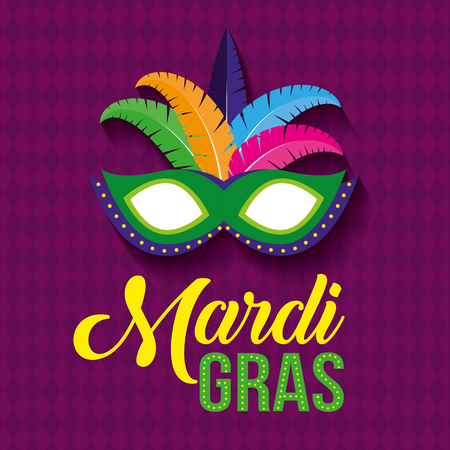 mask with feathers decoration to mardi gras vector illustration