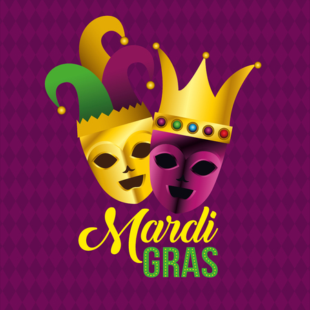 party masks with hat and crown to mardi gras vector illustration