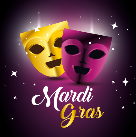 party masks to mardi gras celebration vector illustration