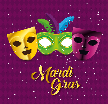 mardi gras celebration with party masks vector illustration