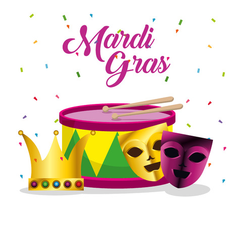 mardi gras with drum and masks decoration vector illustration