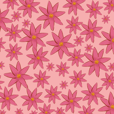 nature flowers with petals style background vector illustration