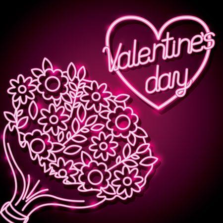 bouquet flowers happy valentines day neon vector illustration