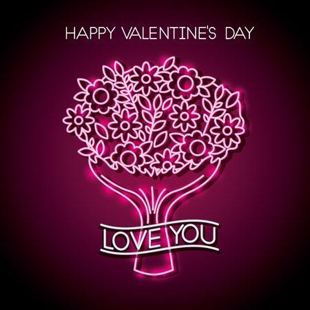 bouquet flowers love happy valentines day neon vector illustration