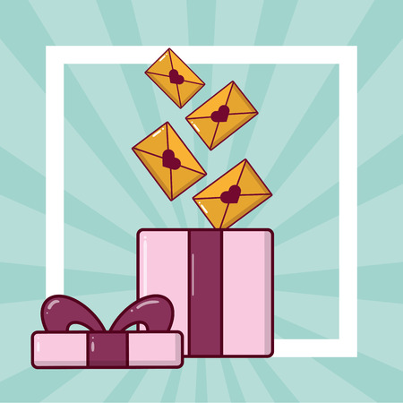 open gift box mails happy valentines day vector illustration Illustration