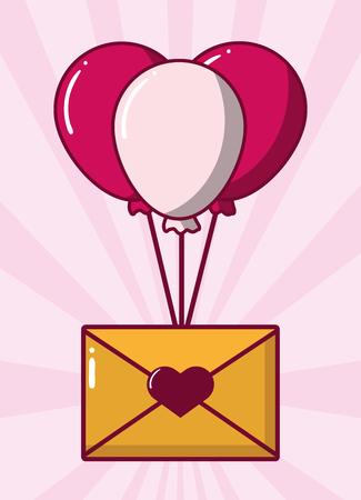 mail balloons happy valentines day vector illustration Stockfoto - 126257595