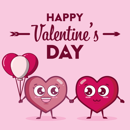couple kawaii hearts with balloons happy valentines day vector illustration