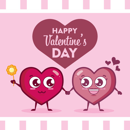 couple kawaii hearts with flower happy valentines day vector illustration