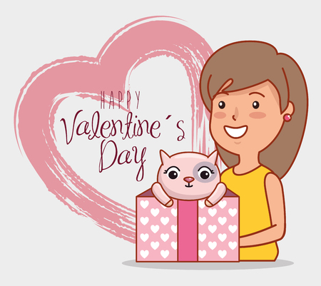 woman with cat inside present gift and heart to valentines day vector illustration