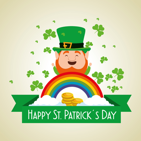 st patrick celebration with coins and clovers vector illustration