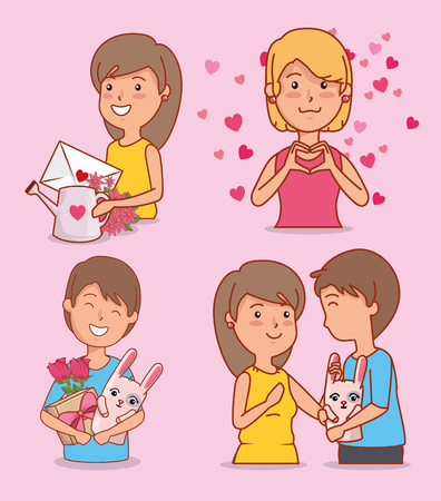 set woman and man with rabbit to valentines day celebration vector illustration