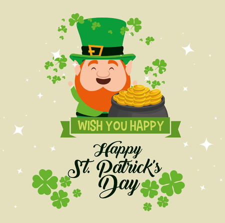 st patrick celebration with clover and hat vector illustration