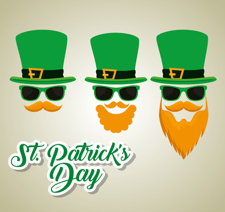 st patrick celebration with sunglasses and hat vector illustration