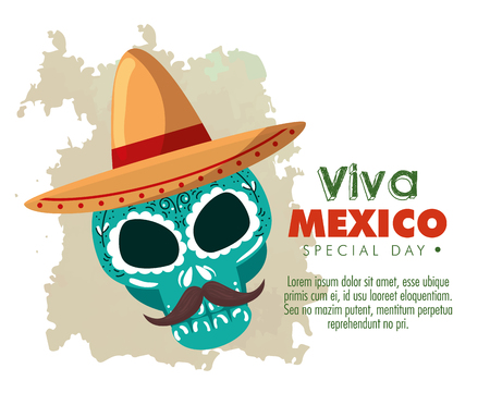 skull with hat and mustache to day of the dead event vector illustration