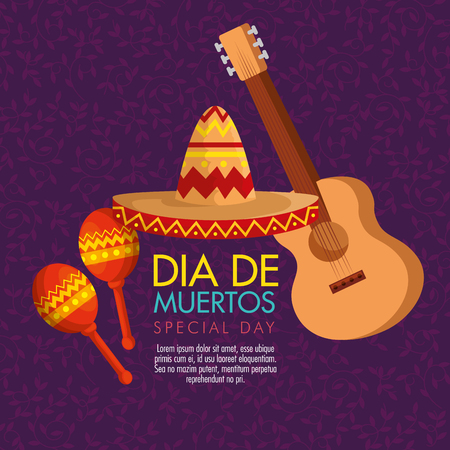 guitar with maracas and hat to day of the dead vector illustration Illustration
