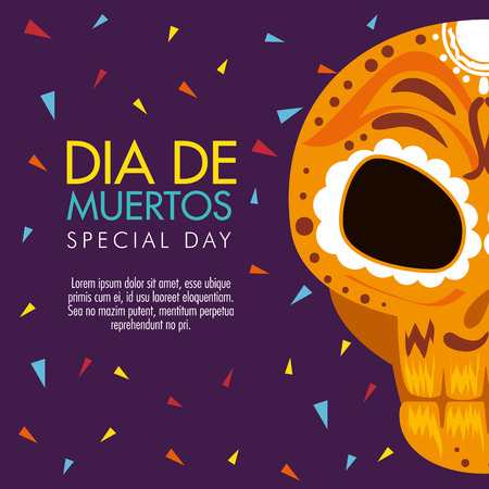 day of the dead celebration with skull decoration vector illustration