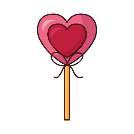 heart lollipop happy valentines day vector illustration