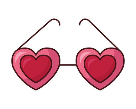 hearts shaped eyeglasses valentine day vector illustration Illustration
