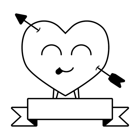 kawaii heart pierced arrow ribbon happy valentines day vector illustration Illustration