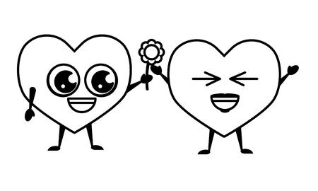 kawaii couple hearts flower happy valentines day vector illustration Vetores
