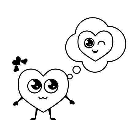 kawaii heart thinking love happy valentines day vector illustration