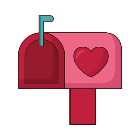 mail box love happy valentines day vector illustration
