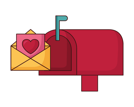 mail box message envelope happy valentines day vector illustration Фото со стока - 115342206