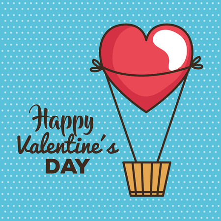 valentines day card with balloon air hot vector illustration design