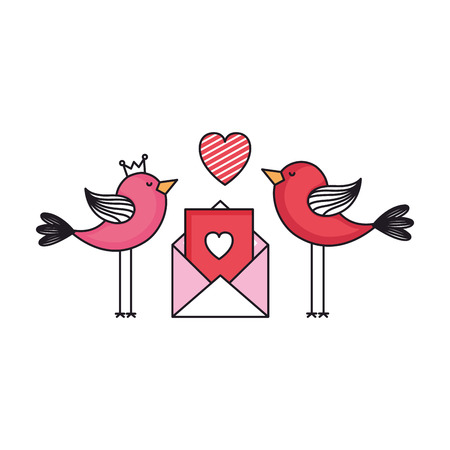 envelope with heart and birds couple vector illustration design