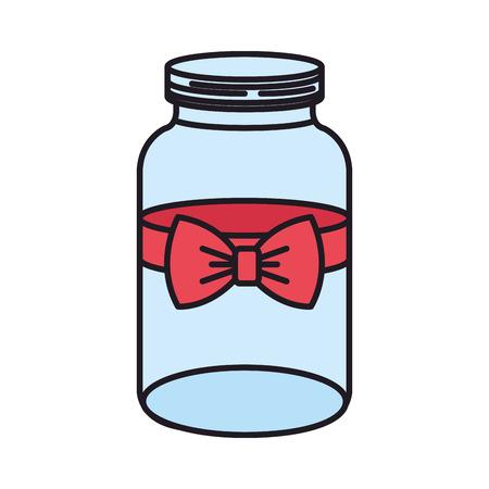 mason jar with bow decorative vector illustration design Illustration