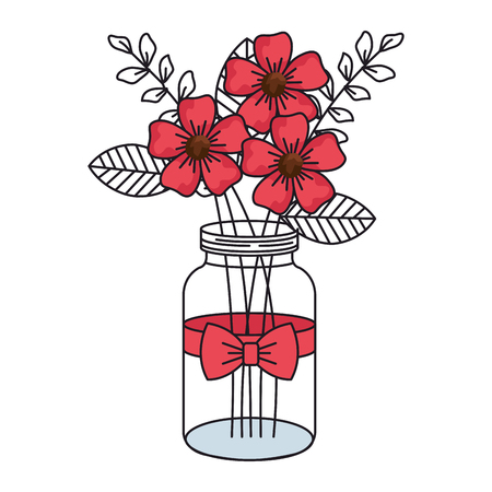 mason jar with beautiful flowers decoration vector illustration design