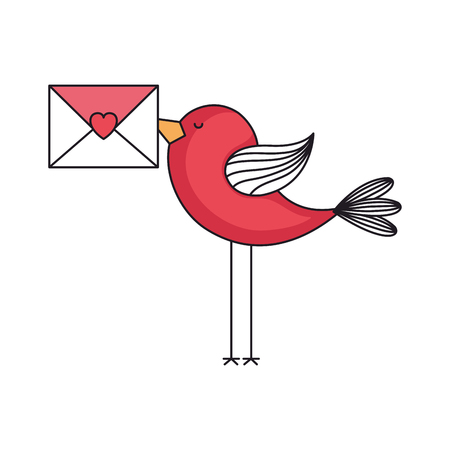 love card with cute bird with envelope vector illustration design