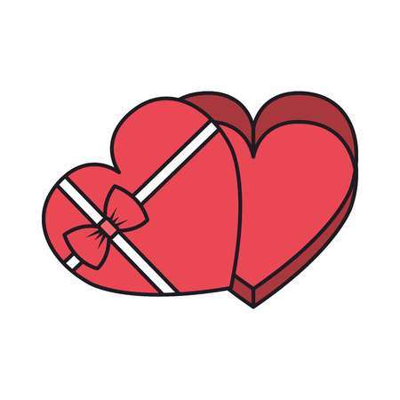 Giftbox con forma de corazón, diseño de ilustraciones vectoriales