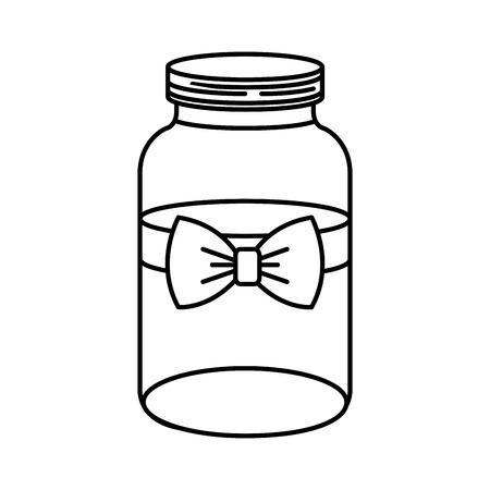 mason jar with bow decorative vector illustration design
