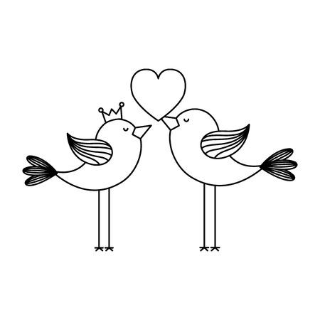 love card with cute birds couple vector illustration design