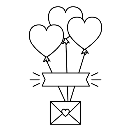 envelope with heart and balloons helium vector illustration design Stock Illustratie
