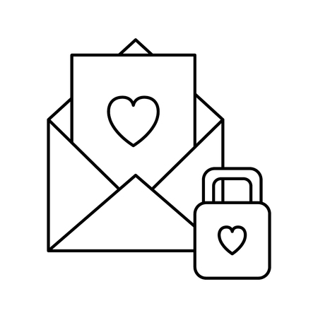 envelope with heart with padlock vector illustration design