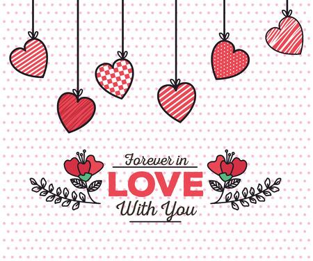 Tarjeta del día de San Valentín con corazones colgando, diseño de ilustraciones vectoriales