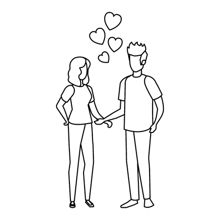 lovers couple with hearts floating vector illustration design Vetores