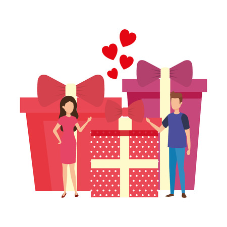 lovers couple with hearts floating and gifts vector illustration design