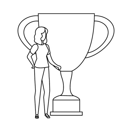 trophy cup award with businesswoman vector illustration design Stockfoto - 115340563