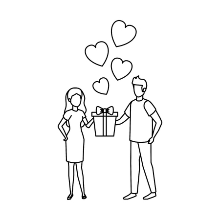 lovers couple with hearts floating and gift vector illustration design Illustration