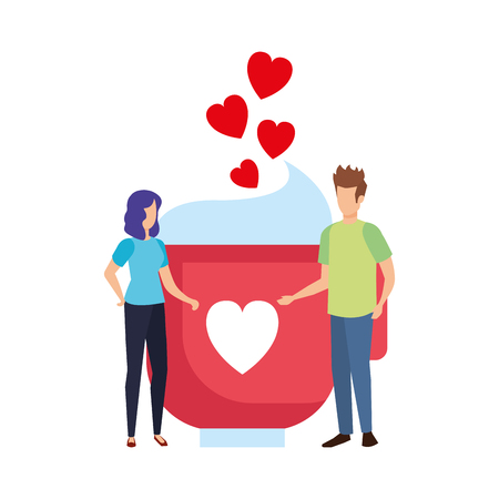 lovers couple with hearts floating and coffee cup vector illustration design