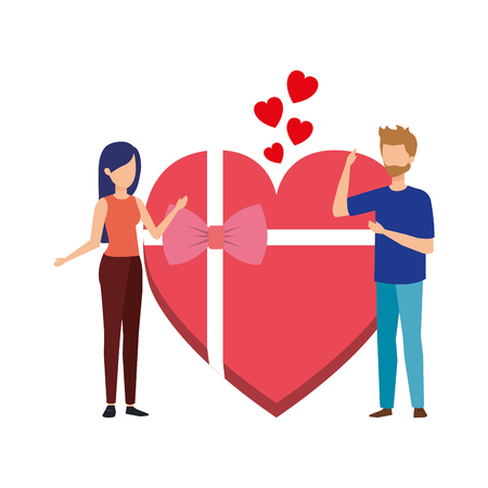 lovers couple with hearts floating and gift vector illustration design Vetores